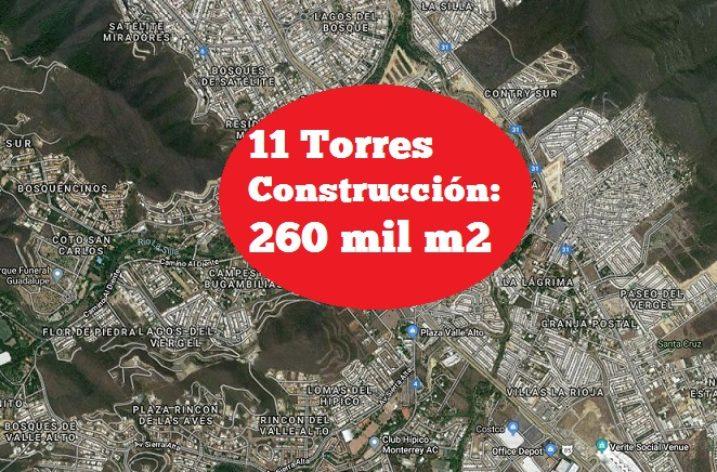 Proyectan complejo de 11 torres al Sur de MTY